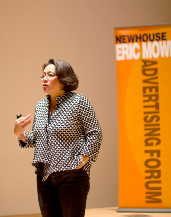 Irene Chang Britt, the president of Pepperidge Farm, spoke to students in the Joyce Hergenhan Auditorium on Tuesday night.  Photographed by Connor Martin
