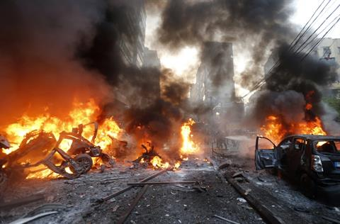 Explosion in Beirut's Haret Hreik. Photograph from The Daily Star